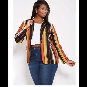 Ashley Stewart Multi striped long line blazer